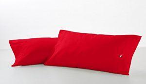 ES-TELA - Funda de almohada COMBI LISO color Rojo - 2 piezas de 45x85 cm - 50% Algodón-50% Poliéster - 144 Hilos 5