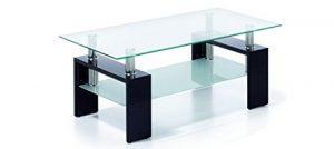 Due-home Mesa Centro Moderna de Cristal, Patas lacadas Color Negro, Medidas 110x60x45 de Altura 10