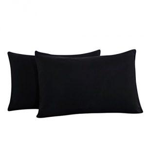 Fundas de almohada para camas de un par (50 x 75) cm, poliéster, negro 7