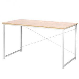 Woltu Escritorio de Computadora Muebles de Oficina Mesa de PC Mesa de Oficina de Madera y Acero, con Estante TSB08hei Roble Brillante + Blanco 10