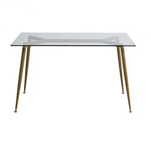 EBS Retro Mesa de Comedor Mesa de Cristal Patas de Metal Imitación Madera Templado Cristal 10