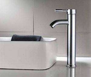 Aurho Grifo de lavabo y baño alto con acabado cromado, cuerpo de latón y válvula cerámica Doble Control de agua fría y caliente 4