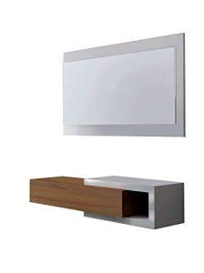 Habitdesign 0N6743BO - Recibidor con cajón + espejo, mueble entrada acabado en Blanco Brillo y Nogal, modelo Noon, medidas 19 x 95 x 26 cm de fondo 6