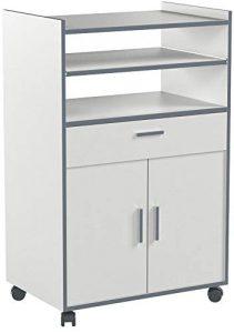 Habitdesign 009910O - Mueble auxiliar mesa cocina con un cajón y dos puertas, color Blanco, medidas: 92 x 59 x 40 cm de fondo 10