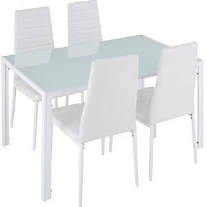 TecTake Conjunto de Mesa y 4 sillas de Comedor | Alto Grado de Confort | Tablero de la Mesa Robusto, de Vidrio Templado de Seguridad (Blanco | No. 402838) 10