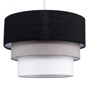 MiniSun - Preciosa pantalla de lámpara de techo colgante 'Azteca' - redonda a 3 niveles de tela en negro, gris y blanco 9