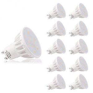 LOHAS No-Regulable 6Watt GU10 LED Bombillas, Equivalente a 50Watt Lámpara Incandescente, Blanca Neutra 4000K, 500lm, 120 ° ángulo de haz, Ultra Brillante LED Bombillas, Paquete de 10 Unidades 6