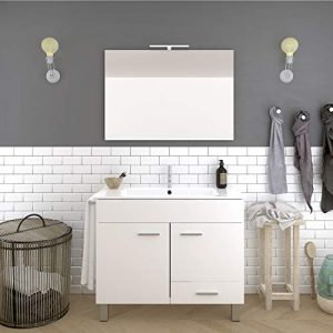 DUCHA.ES Mueble DE BAÑO con Lavabo Espejo TOALLERO LUZ LED Conjunto Moderno Medidas (80 CM, Blanco Brillo) 9