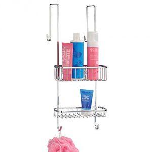 mDesign Estantería de ducha para colgar sobre la mampara – Práctico colgador para ducha de acero inoxidable sin taladro – Cestas metálicas con ventosas para los accesorios de ducha – plateado 3
