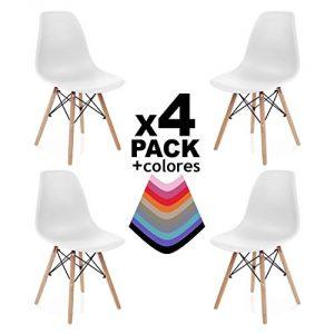 duehome Nordik - Pack 4 sillas, silla de comedor, salon, cocina o escritorio, patas madera de Haya, dimensiones: 47 x 56 x 81 cm de altura (Blanco) 6