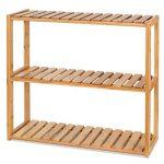 HOMFA DIY Estanteria Baño Pared Estantería de bambú Baño Sala o Cuarto con 3 niveles para almacenaje y organización 60x15x54cm 15