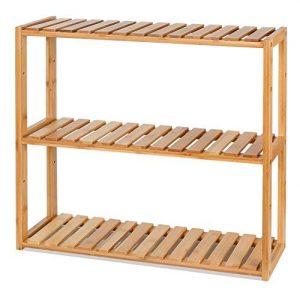 HOMFA DIY Estanteria Baño Pared Estantería de bambú Baño Sala o Cuarto con 3 niveles para almacenaje y organización 60x15x54cm 3