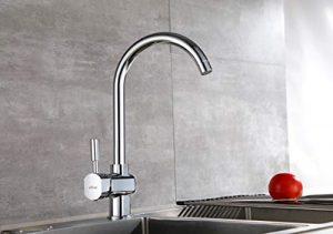 Aurho Grifo de cocina giratorio de 360 grados con pomo que regula la temperatura Tiene base de cobre y revestimiento de cromo Cuenta con diseño adecuado para fregaderos 1