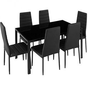 TecTake Conjunto de Mesa y 6 sillas de Comedor (Negro | No. 402839) 4