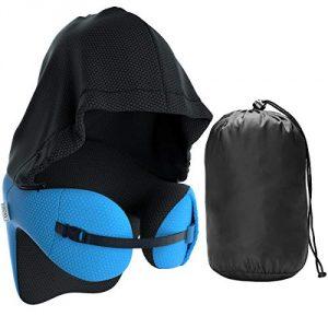 LANGRIA Almohada de Viaje con Capucha Viscoelástica 6-en-1 Multiposición de Espuma de Memoria (Azul) 7
