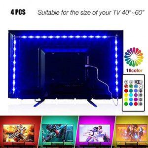 LED Tira de TV, ENES Tiras LED Iluminación 2M USB Tira de LED Retroiluminación LED de TV USB Tira De Luz mit Control Remoto 24 Botones para TV DE 40 A 60 Pulgadas HDTV, Monitor de PC 6