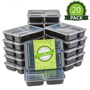 HOMELODY (Set de 20) Juego de recipientes para Comida Reciclable Contenedores para Comidas (3 Compartimento) Sin BPA Tapas Apilables y Reutilizables para Lavavajillas, Congelador, Microondas 1