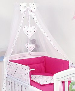 Pro Cosmo 10 Piezas Juego de Ropa de Cama para Cuna bebé/Edredón, Dosel, Protector (120x60cm, Estrellas Rosa) 1