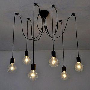 Lixada Luz Lámpara del Techo Candelabro Iluminación Retra Antigua Colgante Clásica Ajustable DIY con 6 Brazos de Araña para Bombilla E27 para Comedor Hotel Etc.(Cada cable 1.7m) (6 Brazos) 7