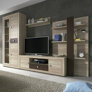 HomeSouth - Mueble de Comedor con Leds, Salon Vitrina Modelo Julieta, Acabado Color Cambria y Chocolate 4