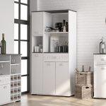 MD1 Suarez - Bufe alto 1 cajon 3 puertas, medidas 900 x 400 x 180 cm, color blanco-gris 12