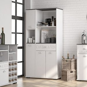 MD1 Suarez - Bufe alto 1 cajon 3 puertas, medidas 900 x 400 x 180 cm, color blanco-gris 5