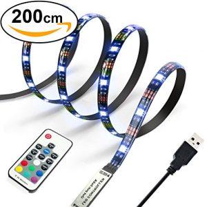 Diyife 2 Meter 60 Leds Retroiluminación De TV 5050 RGB Bias Lluminación para HDTV De 40-60 Pulgadas, USB LED Rayas Neon Accent Lighting Kit. 10