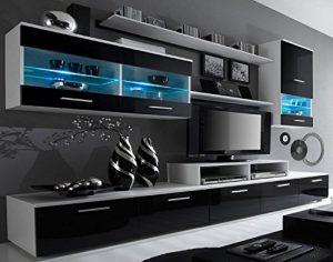 SelectionHome - Mueble salón comedor moderno, acabado en Blanco Mate y Negro Brillo Lacado, medidas: 250x194x42 cm de fondo 6