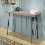 Festnight Mueble de Consola Mesa Materia de MDF + Acero para Salón Habitación 90 x 30 x 71,5 cm Color Gris 12