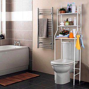 T-LoVendo 1 Estanteria sobre Inodoro WC Lavadora Ahorra Espacio Almacenamiento Cuarto Baño, Blanco, 165 x 55 x 25 cm 10