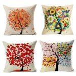 4 Pack Colorido Otoño Flor Árbol de Algodón de Lino Throw Pillow Case Funda de Almohada para cojín 45x45 cm, Gspirit 17