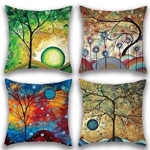 JOTOM - Juego de 4 fundas de almohada de lino y algodón suave, decorativas para el hogar, cuadradas, 45 x 45 cm 6
