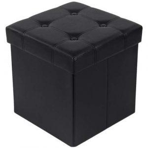SONGMICS 38 x 38 x 38 cm Baúl Puff Taburete para almacenaje Plegable Carga máxima de 300 kg Negro LSF30B 4