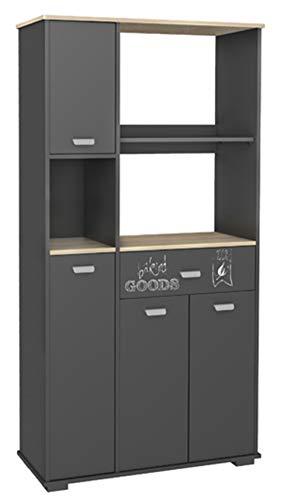 Armario aparador bufe alto de cocina de 4 puertas y 1 cajón gris grafito. 180cm 1