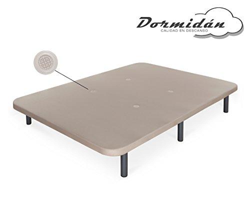 Dormidán - Base tapizada con Tejido 3D y válvulas de aireación + 6 Patas Acero 30cm, Refuerzo Central, Medida 135x190cm 1