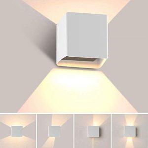 Apliques Pared LED 3000K, Hommie 10W 1000lm Apliques Pared Interior Moderno Impermeable IP65 con Herramienta de Instalación, Lámpara de Pared para Dormitorio, Habitación,Salón, Exterior, Blanco A+ 8