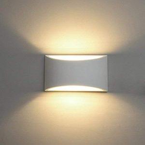 DECKEY Lámpara de Pared de Cerámica, Iluminación Decorativa en Yeso Luz de Pared LED Arriba Abajo, Efecto de Luz Interior para Dormitorio, Salón y habitación 3