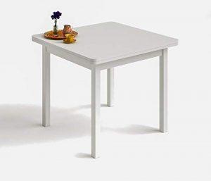 HOGAR24 ES Mesa Cuadrada Multiusos Comedor Cocina Dimensiones 90 cm x 90 cm Extensible Libro a 180 cm x 90 cm. Color Blanco 5