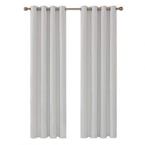 Deconovo Cortinas de Salón para Habitacion Modernas Suaves 2 Piezas 117 x 229 cm Blanco Grisáceo 6