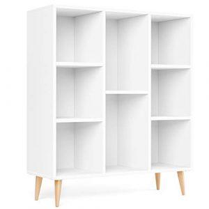 Homfa Librería Estantería Blanca Nórdico con 8 Cubos para Libros 80X29.5X93CM 7