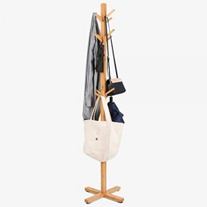 HOMFA Perchero de bambú de Pie Perchero de árbol Perchero de madera con 12 Ganchos para pasillo o dormitorio Alta Calidad Base Dura 177x45cm 1