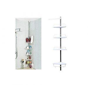 Shine 4Niveles telescópica Ajustable baño Organizador estantería esquinera de Ducha estantería de Accesorio de Color Blanco 4