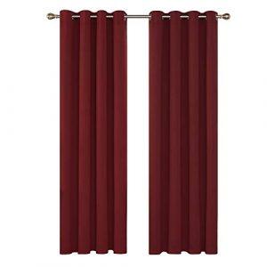 Deconovo Cortinas Salon Modernas Aislante Térmico Funcional Estilo Moderno Elegante para Sala Cuarto Comedor 1 Par 140 x 280 cm Rojo Oscuro 2