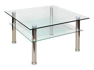 ts-ideen - Mesa auxiliar (cristal y acero inoxidable, 70x70cm, esquinas redondas, vidrio templado de 10mm) 1