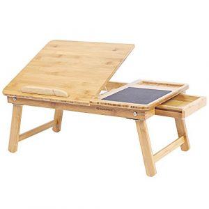 SONGMICS Mesa Plegable de Bambú Natural Tableta Ajustable con Hueco Almohadilla de Ratón Cajón Uso para la Cama o el Sofá 55 x 35 x 23 cm LLD008 2