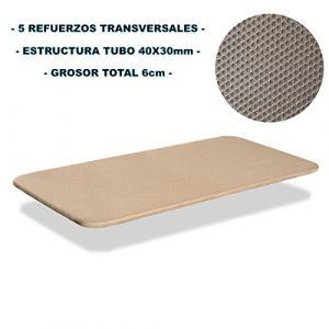 Bonitex - Base tapizada 3D 135x190cm 5 refuerzos transversales, grosor 6cm, transpirable, color beige (sin patas) 10
