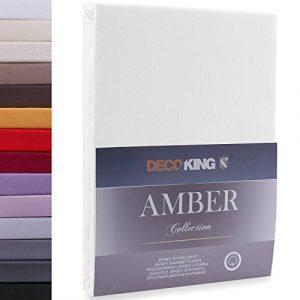 DecoKing 200x200-200x220 cm Sábana Bajera Ajustable 100% Algodón Jersey Blanco Amber Collection 4