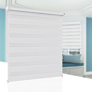 BelleMax Estor Doble Enrollable Sin Perforación, para Ventanas y Puertas, Blanco 80cm x 230cm 10
