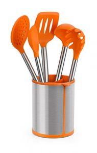 BRA Efficient Conjunto de 5 Utensilios de Cocina y Carrusel, Acero INOX, Nailon y Silicona, Naranja, 14.5 x 15 x 37.5 cm 3