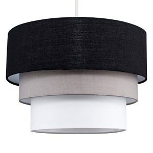 MiniSun - Preciosa pantalla de lámpara de techo colgante 'Azteca' - redonda a 3 niveles de tela en negro, gris y blanco 7